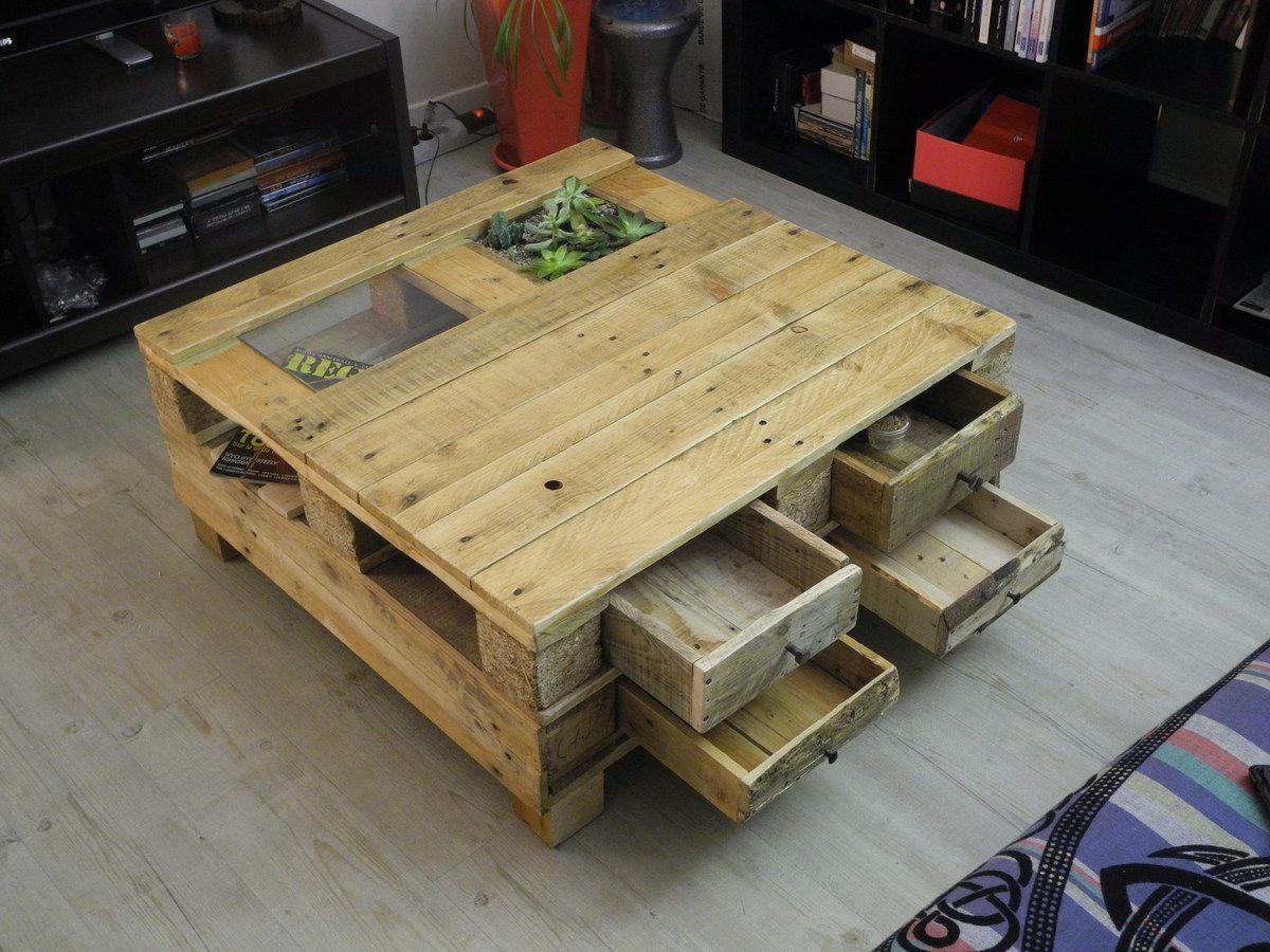 Table basse palette avec tiroir
