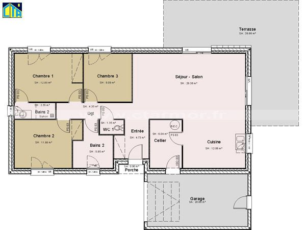 Plan maison avec cuisine fermée