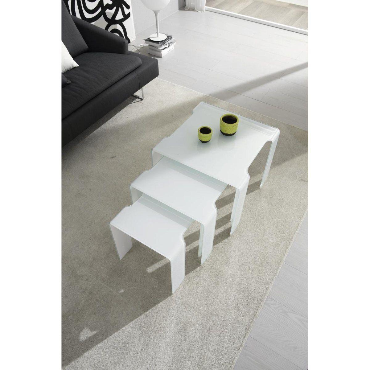 Table basse gigogne design blanc