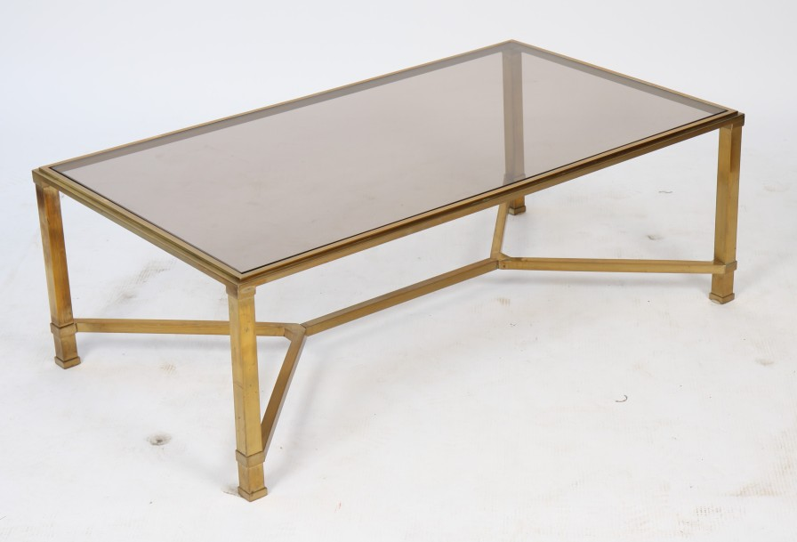 Table basse en verre et laiton