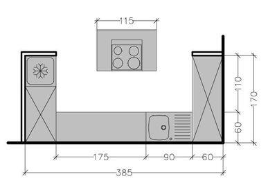 Plan d'une petite cuisine ouverte