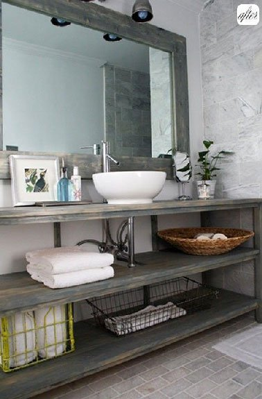 Plan de travail salle de bain fait maison