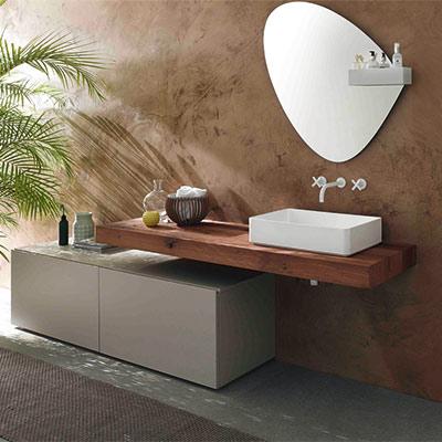 Plan de travail salle de bain bois brut