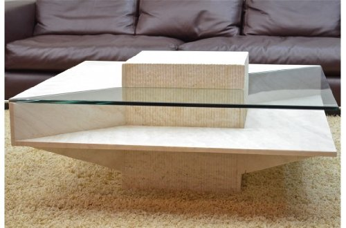 Table basse en marbre travertin