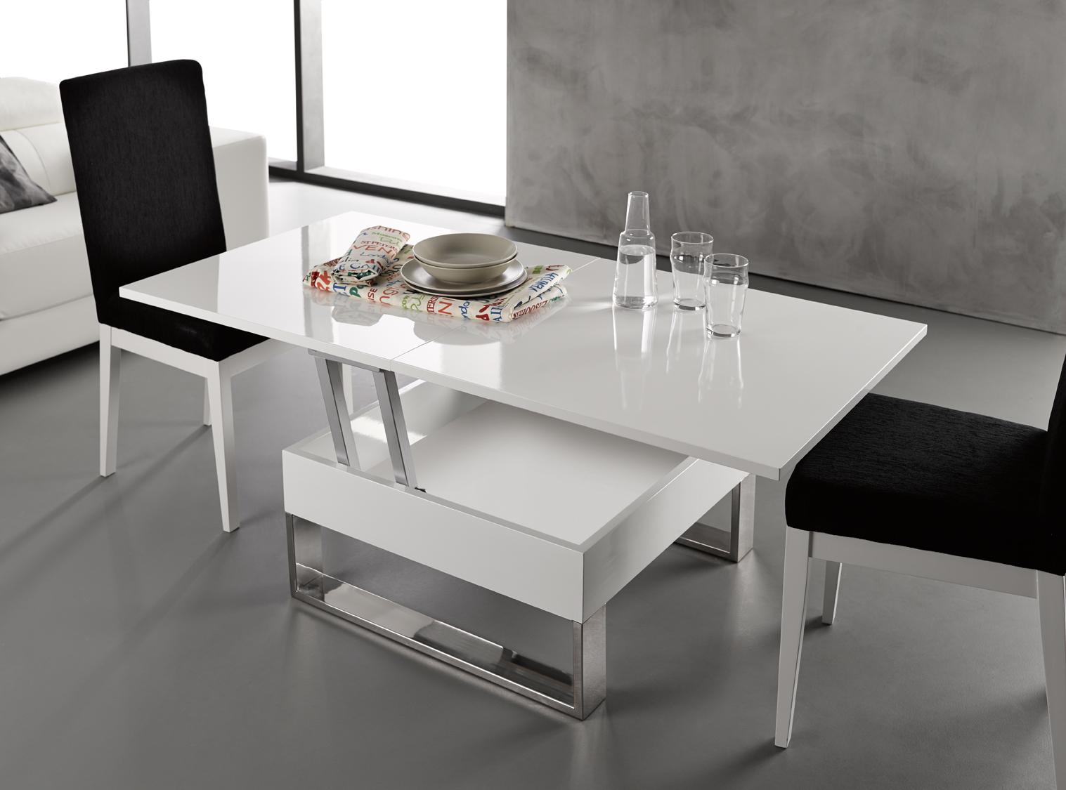 Table basse relevable extensible blanc laqué