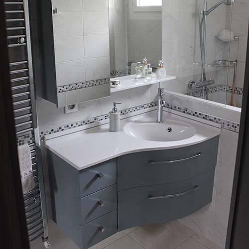 Meuble d'angle avec vasque pour salle de bain