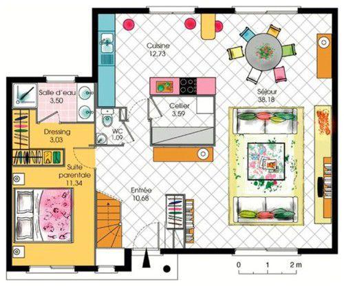 Plan maison cuisine americaine - tendancesdesign.fr