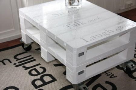 Table basse faite avec une palette