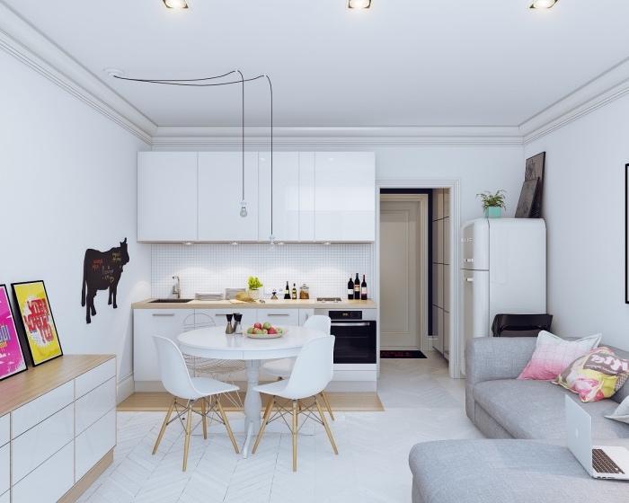 Idee deco petit salon cuisine ouverte