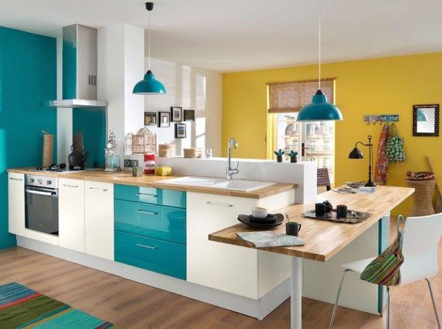 Idee deco cuisine turquoise