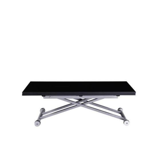 Upper table basse relevable et extensible laquée noire