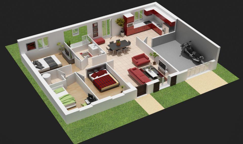 Plan de maison avec cuisine en avant - tendancesdesign.fr