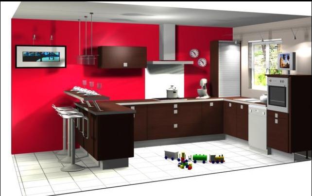 Modele cuisine mur rouge