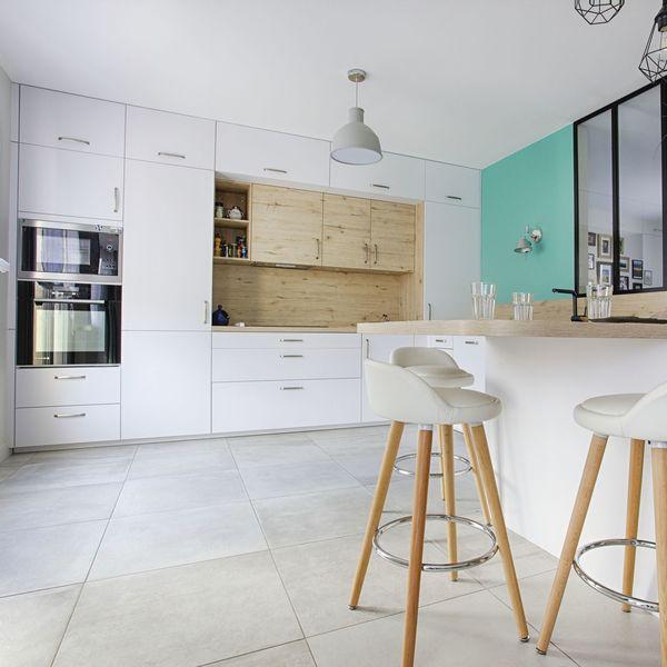 Photos cuisine blanc et bois