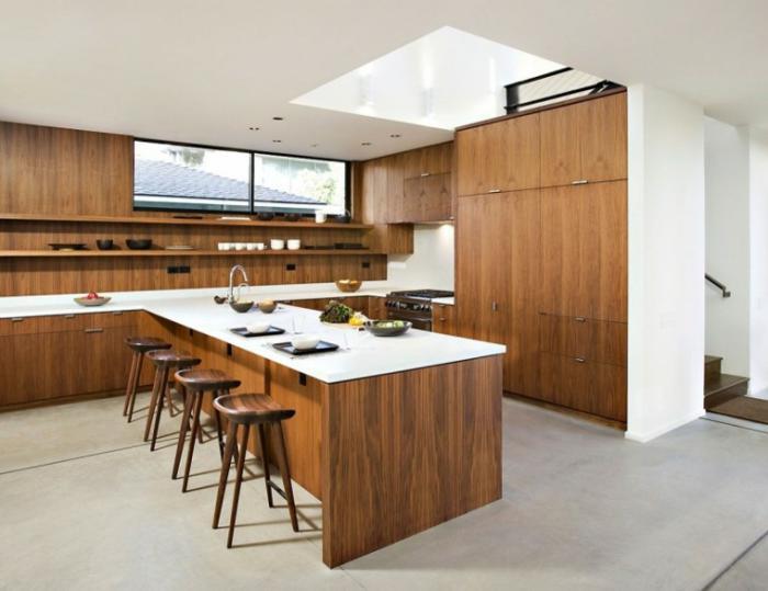 Idee deco cuisine blanc et bois