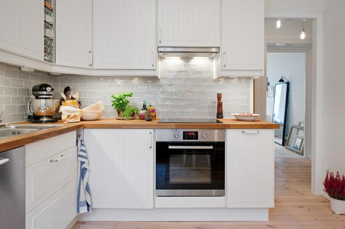 Photos cuisine bois et blanc