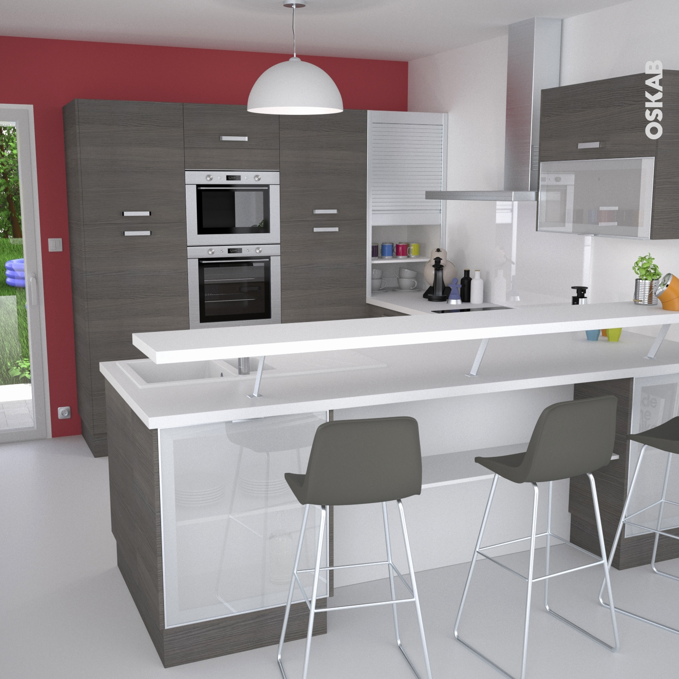cuisine ikea faktum abstrakt blanc. Black Bedroom Furniture Sets. Home Design Ideas