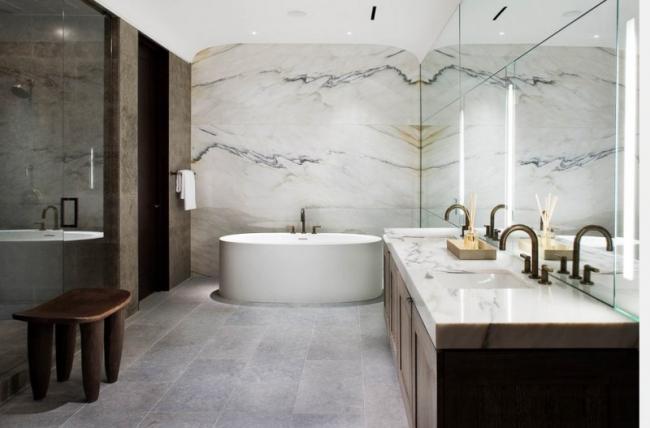 Plan de travail salle de bain marbre