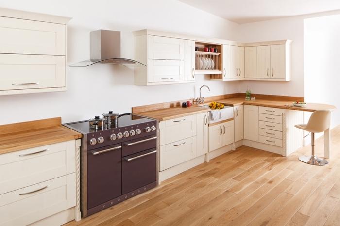 Cuisine meuble blanc plan de travail bois - Cuisine blanche avec plan de travail bois ...
