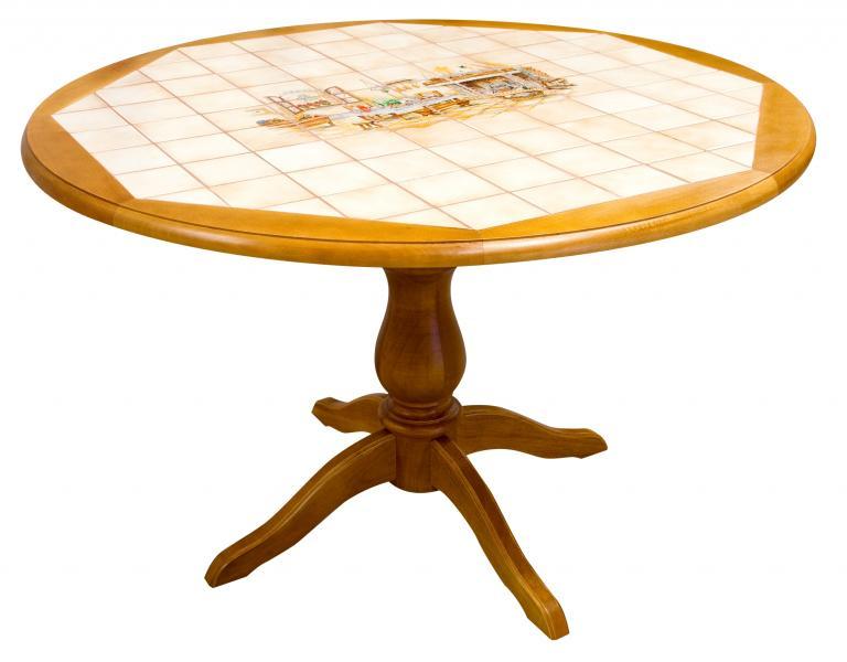 Table de cuisine en bois carrelée