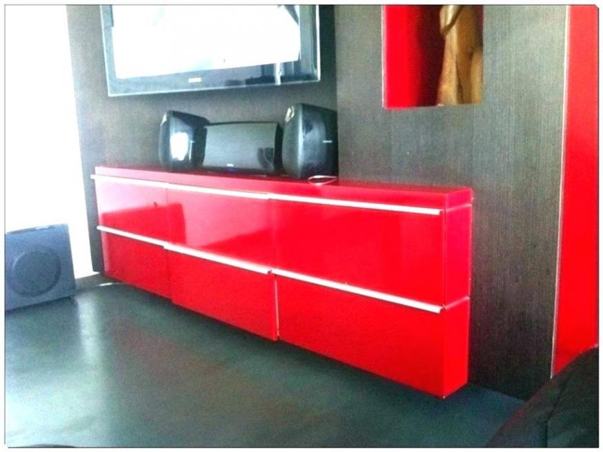 Meuble haut cuisine rouge laqué
