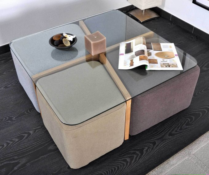 table basse avec 4 pouf encastrable. Black Bedroom Furniture Sets. Home Design Ideas