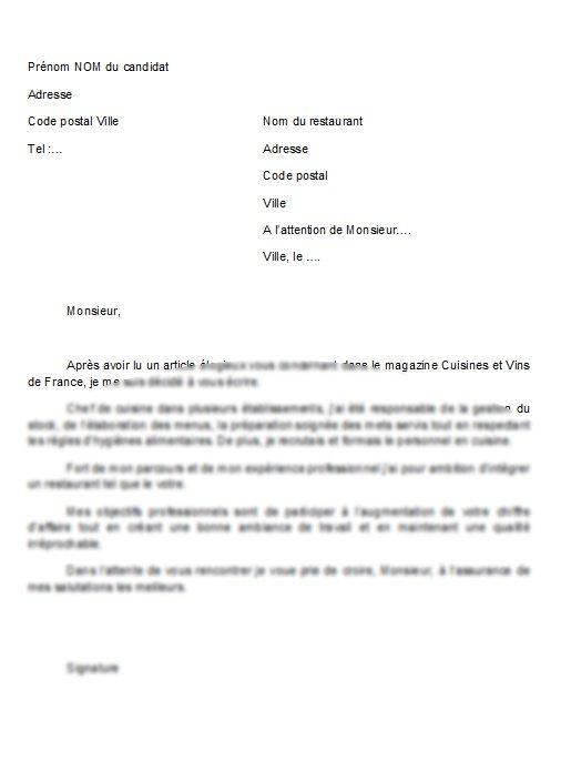 Exemple de lettre de motivation aide cuisinier gratuit