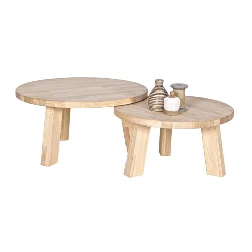 Table basse ronde chene clair