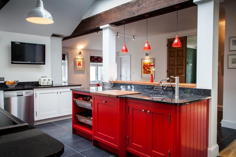Model de cuisine en bois rouge