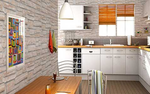 Modele de cuisine avec papier peint