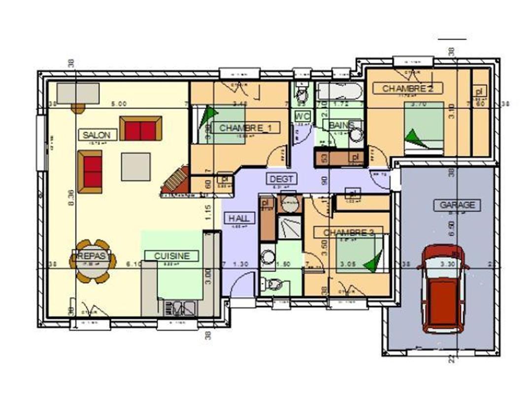 plan maison plain pied cuisine ferm e. Black Bedroom Furniture Sets. Home Design Ideas