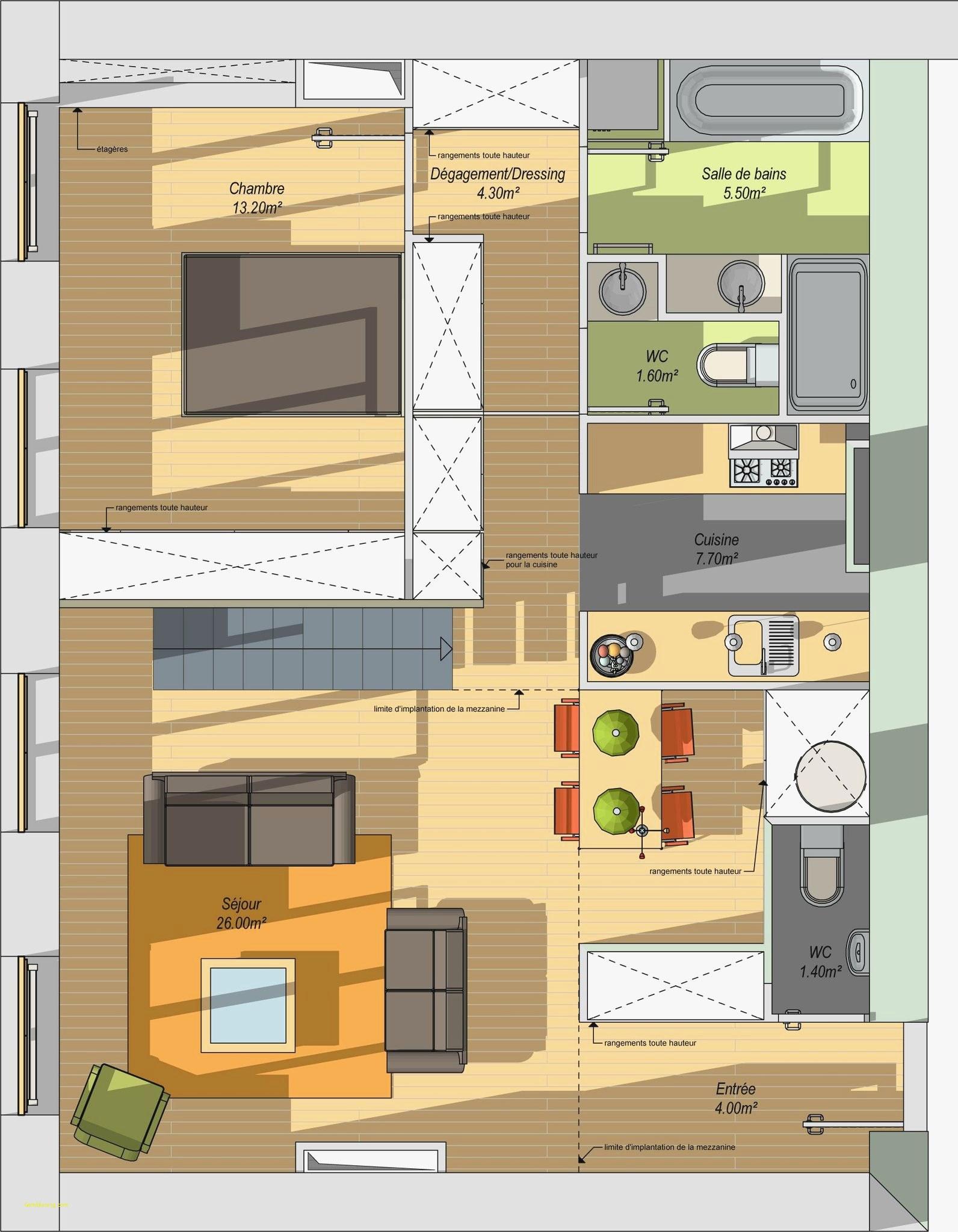 Plan cuisine salle manger