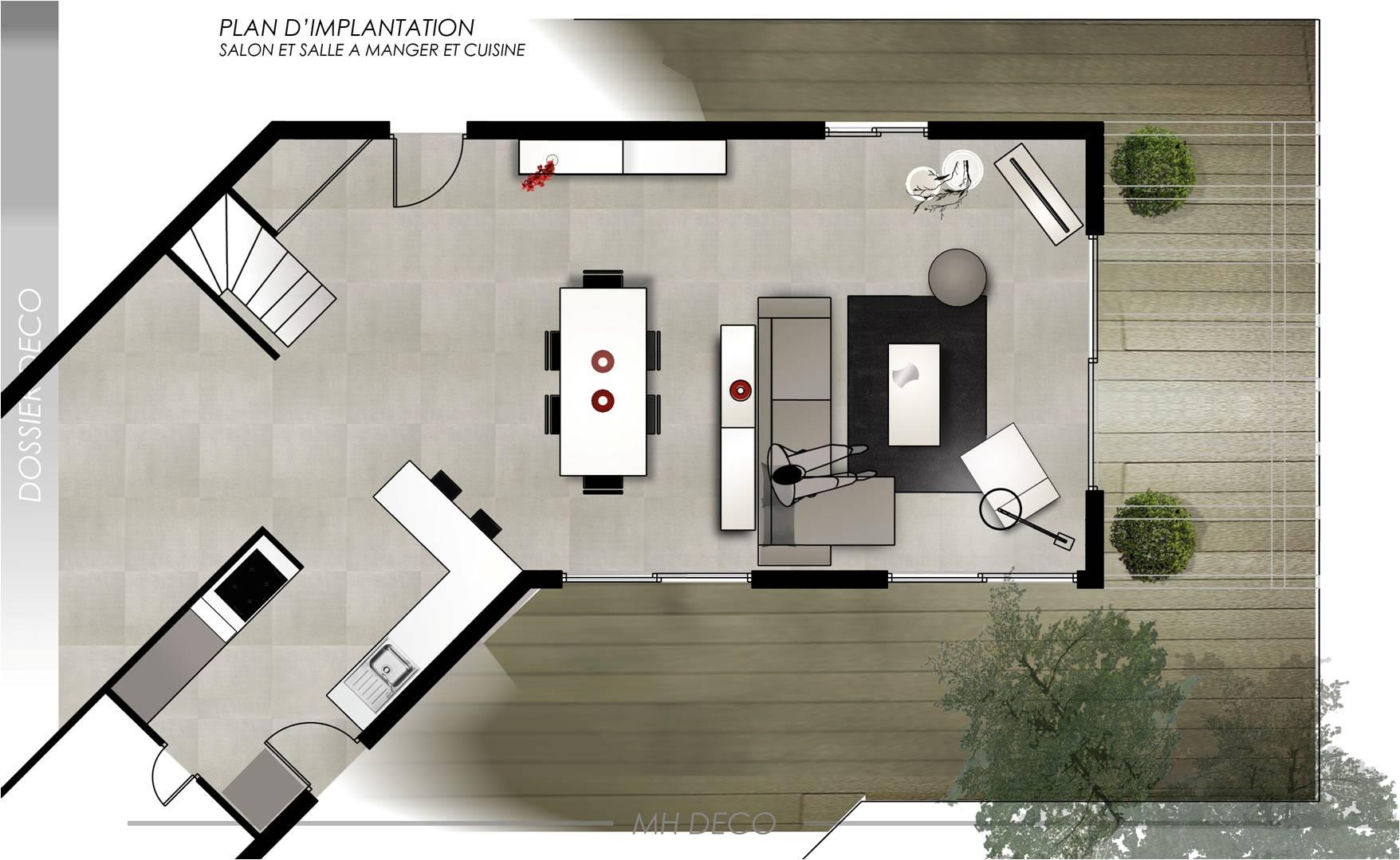 Plan salon avec cuisine americaine - Amenagement salon salle a manger cuisine ouverte ...