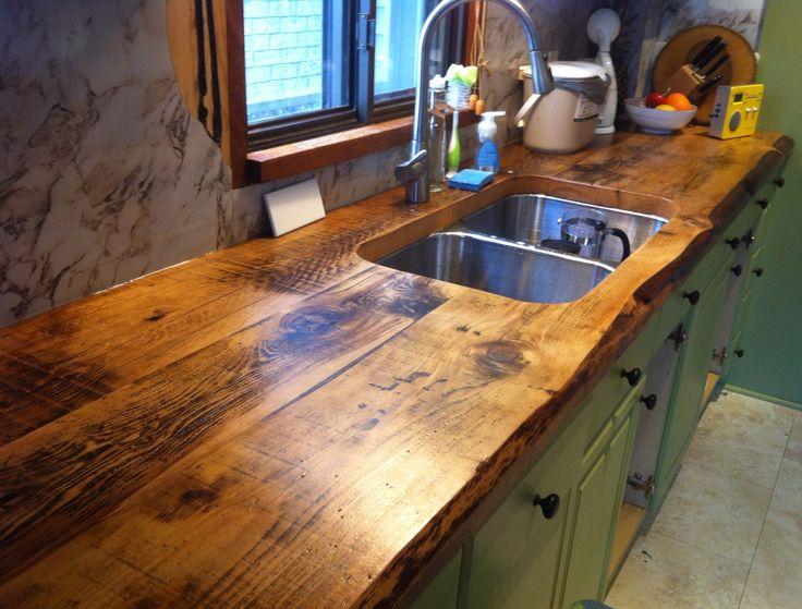 Idée cuisine plan de travail bois