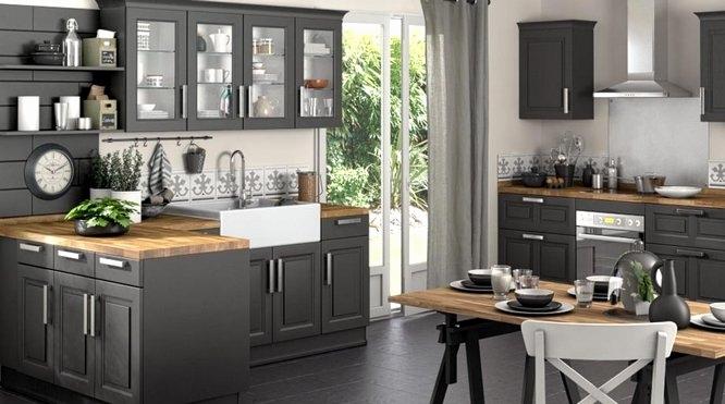 cuisine gris anthracite et plan de travail bois. Black Bedroom Furniture Sets. Home Design Ideas