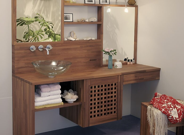 Plan de travail pour salle de bain en bois