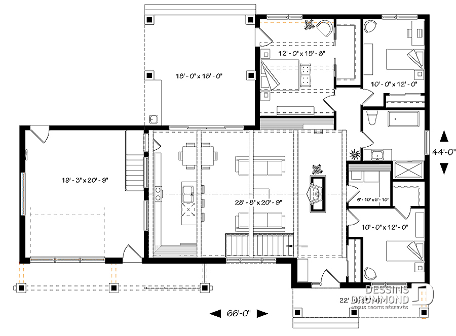Plan maison cuisine sur terrasse
