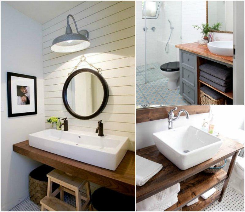 Plan de travail salle de bain en chene