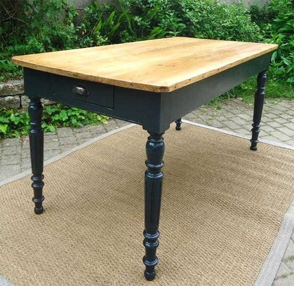 Table cuisine bois peint - Table cuisine rectangulaire ...