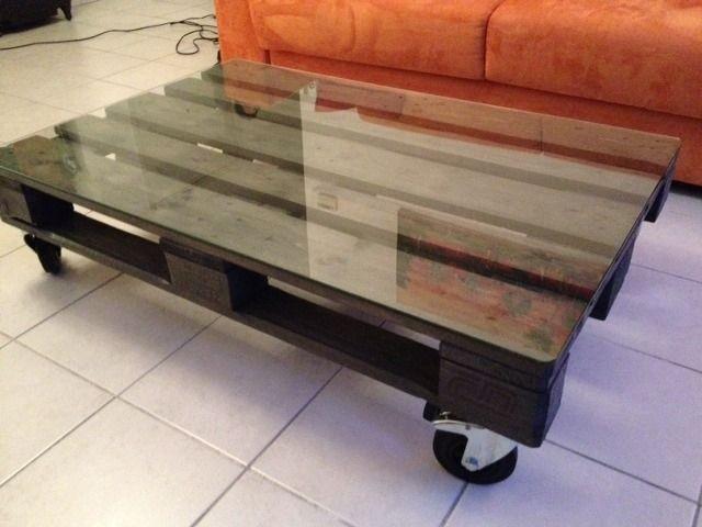 Table basse palette avec roulettes