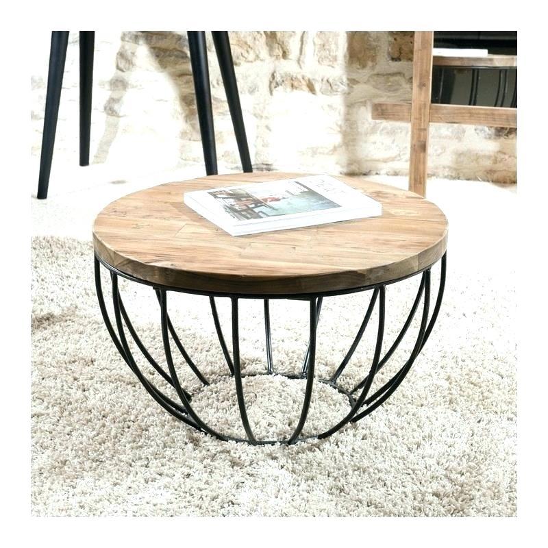 Table basse ronde bois et fer - Table basse en fer et bois ...