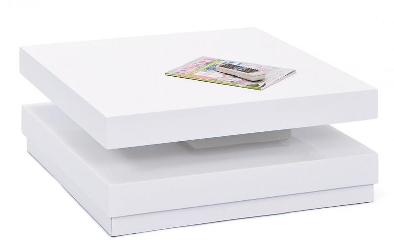Table basse carrée blanche laquée