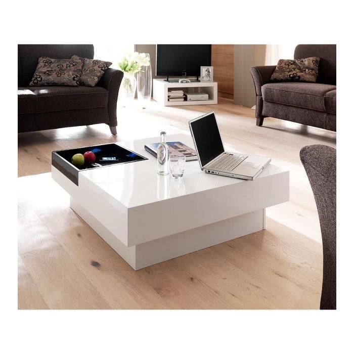 Table basse design blanc laqué jazz