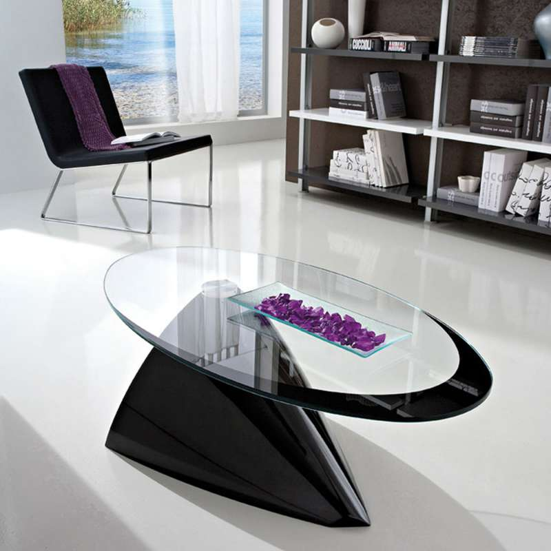 Table basse ovale design verre