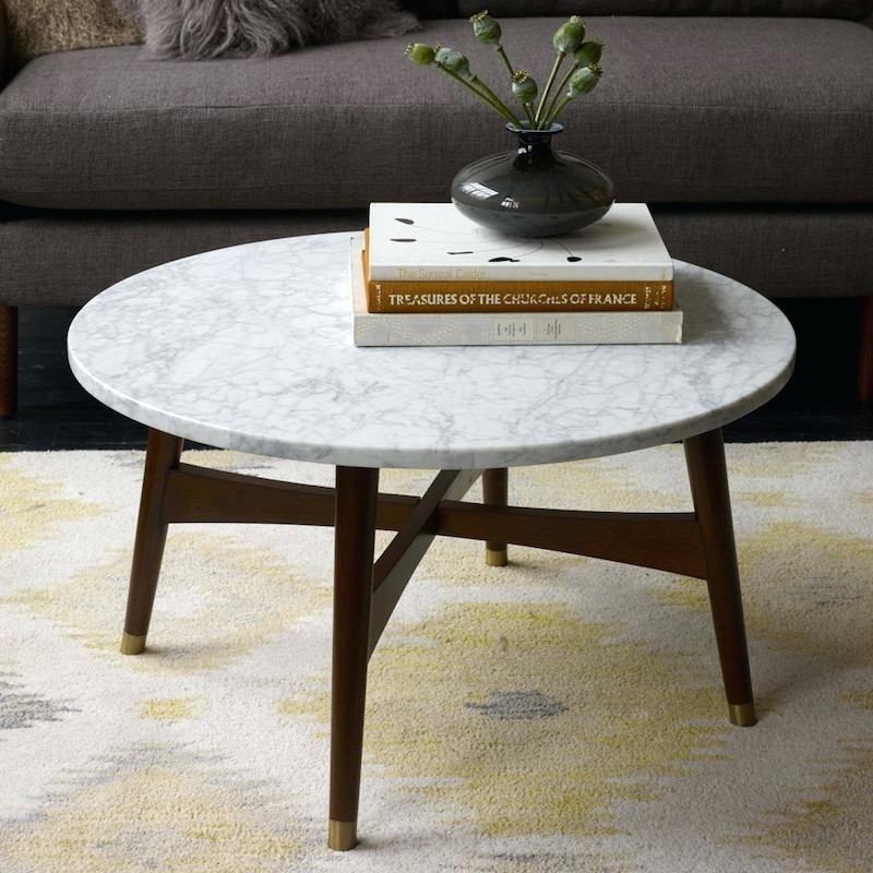 Table basse ronde bois et marbre