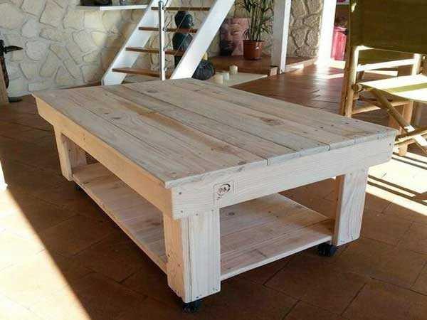Table basse maison palette