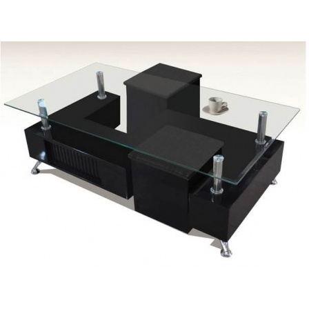 Table basse avec pouf noir
