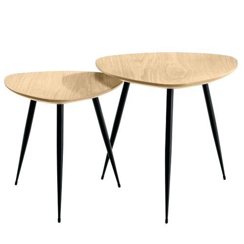 Table basse carrée gigogne bois/metal (lot de 2) luva