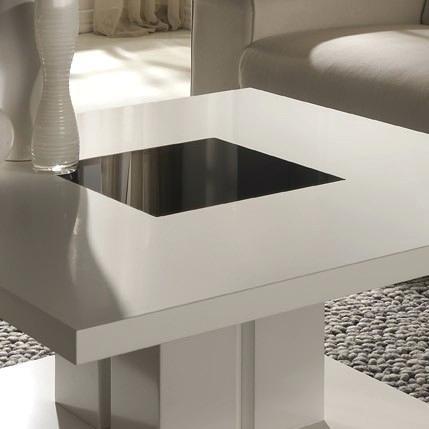 Table basse design laque noir et blanc haute brillance emilie - Table haute et basse ...