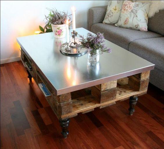 Table basse palette plateau verre - tendancesdesign.fr